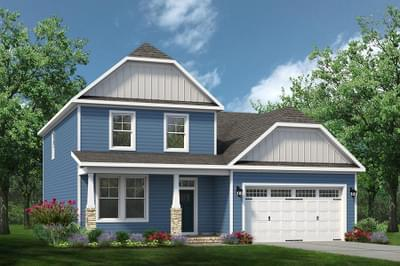 Chesapeake Homes -  The Melody Elevation A w/Optional Full Front Porch and Stone Columns